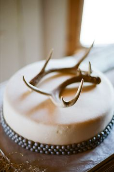 a rustic antler topped cake Photography by phenomimage.com
