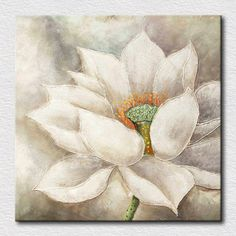 Blanco flor de loto de pintura al óleo hermosas pinturas murales puros para la decoración del arte pared del dormitorio para los amigos regalo(China (Mainland))