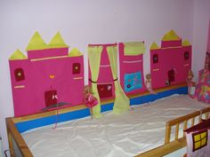Wall dollhouses (castle, theater, palace themes) !!!! the dolls are placed in the elastic horizontal stripes and not in fabric pocket as all girls love displaying the dresses !!!!!