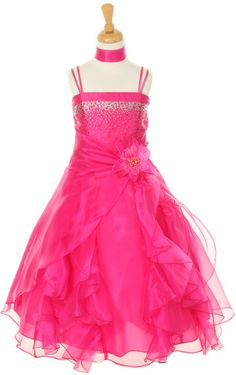 A gorgeous dress for your girl from Cinderella Couture brings out a glamorous flair. Dazzling two tone cascading dress features fuchsia crystal organza, silver rhinestone embellishment, a long ruffled skirt, spaghetti straps. A detachable matching flower Pagent Dresses, Girls Pageant Dresses, Bridesmaid Dresses, Princess Dresses, Quinceanera Dresses, Dance Dresses, Wedding Dresses, Party Dresses, Prom Dress