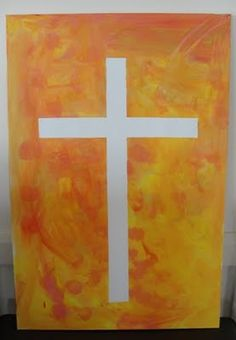 Tape resistant art project. Use masking tape - several layers - to create an image, then choose colors that relate, cover the canvas, then remove the tape. An Easter theme might have a canvas for Palm Sunday, Good Friday, and then Easter day.