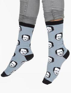 Edgar Allan Poe-ka Dot Socks  Oh my word, these are too great.