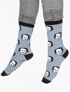 Edgar Allan Poe-ka Dot Socks  Oh my word, these are too great.