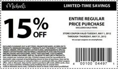 Save 15% on any regular price purchase at Michael's! #coupon