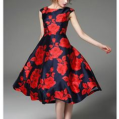 Evasê+Vestido+estilo+antigo+Floral+Decote+Redondo+Médio+Sem+Manga+Vermelho+Seda+Primavera+Cintura+Alta+Micro-Elástica+–+BRL+R$+67,57