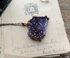 druzy amethyst geometric necklace geometric amethyst by MARIAELA