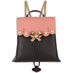 Gucci Peony leather backpack (2,945 CAD) ❤ liked on Polyvore featuring bags, backpacks, backpack, gucci, black pink, over the shoulder backpack, leather backpack, pink leather backpack, pink backpacks and leather daypack