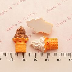Kawaii Cabochons Soft Serve Ice Cream in Waffle by SophieToffeeCo, $4.80