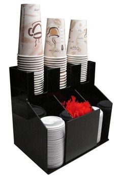 Countertop Organizer Coffee Cup Lids Straws Stirrers Napkins + 4 Section