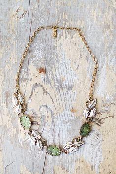vintage 1950s light green leaf necklace