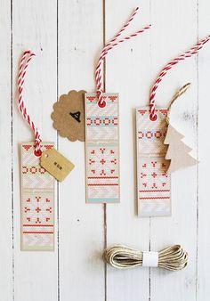 Free holiday tag printables - cute pattern.