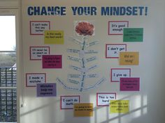 """""""My new growth mindset display. Primary Classroom Displays, School Displays, New Classroom, Classroom Decor, Mindfulness In Schools, Mindfulness Activities, Middle School Science, Beginning Of School, Growth Mindset Display"""