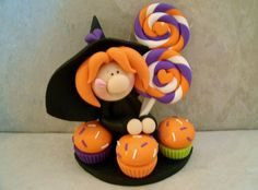 Witch and Halloween Treats Figurine by countrycupboardclay