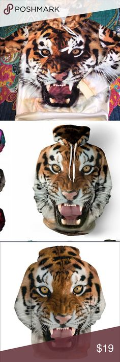 NWOT tiger sweatshirt hoodie New, never worn; an eye catching for sure!  Best fit sizes 8-10. Tops