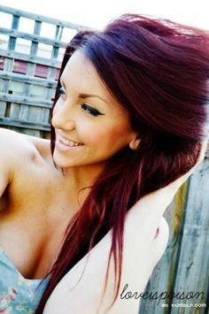burgundy long hair