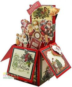 Pop-Up Box Card Pop Up Christmas Cards, Christmas Pops, Xmas Cards, Holiday Cards, Box Cards Tutorial, Exploding Box Card, Pop Up Box Cards, Fun Fold Cards, Cardmaking