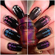 Color Club 'Halo Hues' skittle dotticureover black.....one hand is glossy and the other is matte!!!  LOVE!!!  Instagram photo by @Amanda Kucharczyk via ink361.com