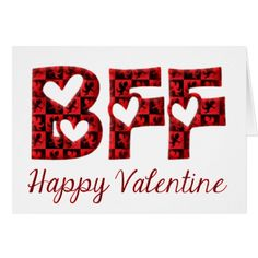 #BFF I Love You Cute Cupid Typography #Valentine Card