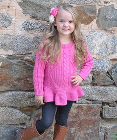 This Pink Peplum Sweater by Sweet Charlotte is perfect! #zulilyfinds