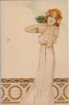 Girls with flowers at feet - Raphael Kirchner 1902