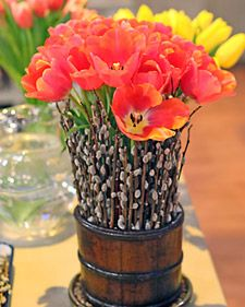 Martha Stewart poppies spring idea    just picked some of those sticks with the fuzzy balls!