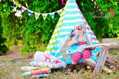 w/ my Ella Bell - CHIC Tee Pee - The Posh Play Tent - Custom design yours from our fabulous selection of funky STRIPES, ZEBRA, and more. $99.99, via Etsy.