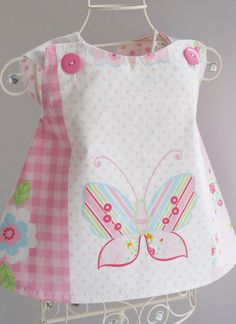 Handmade Baby Apron Pinafore Dress  Butterfly & Roses by CwtchBugs, £15.00
