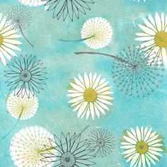 Dandelions and daisies fabric by sary on Spoonflower