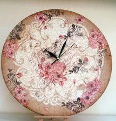 Ξύλινο ρολοϊ με κρακελέ 2 συστατικών Decor, Wall, Wall Clock, Decoupage, Clock, Home Decor