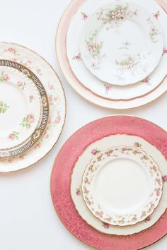 Bright pink vintage dishes