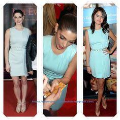 Un vestido de Versace primavera 2012 lo llevo primero Ashley Greene a un evento con fans de Crepúsculo en Estocolmo (aunque en algunas fotos no lo parezca el color es verde agua); después se lo vimos a Selena Gomez en una gala benéfica