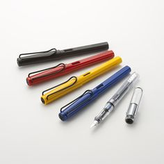 LAMY Safari Foutain Pens in Black, Red, Yellow and Blue and LAMY Vista Fountain Pen