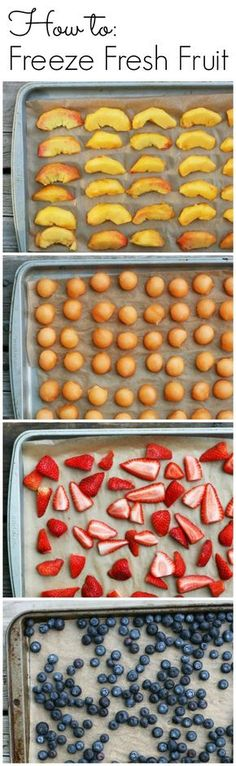 to Freeze Fresh Fruit How to freeze fresh fruit to enjoy summer all year long!How to freeze fresh fruit to enjoy summer all year long! Freezer Cooking, Freezer Meals, Cooking Tips, Cooking Games, Frozen Fruit, Fresh Fruit, Fruit Recipes, Healthy Recipes, Healthy Meals To Freeze