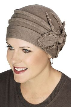 butterfly fringe pull on hat in 100% cotton for cancer and chemotherapy hair loss
