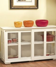 This Antique White Glass Door Stackable Storage Unit is perfect! #zulilyfinds