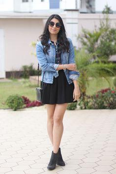 look camisa xadrez e saia bota ankle moda fashion borboletas na carteira-2