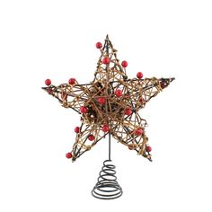 24cm Wicker Tree Star Topper with Berries