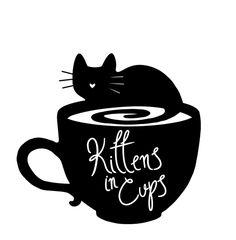 Kittens In Cups- Annapolis Cat Cafe by Hailey Taylor — Vist our Kickstarter!! #cats #cat #catcafe #kickstarter #art #logo #design #blackcat #cute #tea