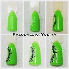 киви на ногтях, красивый маникюр, маникюр с помощью зеленого гель-лака, пошагово маникюр, мастер класс nail art, manicure, design