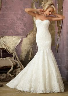 Mermaid Sweetheart Lace Sweep Train Wedding Dress at Millybridal.com