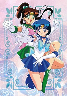 My new original artwork. I drew it by pencils and I coloured it by Illustrator This is my Sailor Mercury and Sailor Jupiter's tribute from Sa. Sailor Mercury and Sailor Jupiter Sailor Jupiter, Sailor Mars, Sailor Moon Tumblr, Sailor Moon Girls, Sailor Moon Manga, Sailor Mercury, Sailer Moon, Illustrator Cs5, Sailor Moon Character