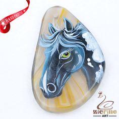 Hand Painted Horse Agate Slice Gemstone Necklace Pendant Jewlery D1707 0036 #ZL #Pendant