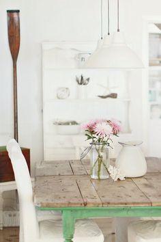 Beach Cottage Vintage Find Farmhouse Table for Coastal Beachy Style
