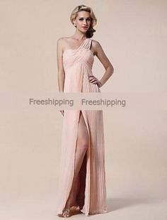 Cheap Sheath/ Column One Shoulder Floor-length Chiffon Elastic Woven Satin Evening Dress 2013 at TheDressUnion.com