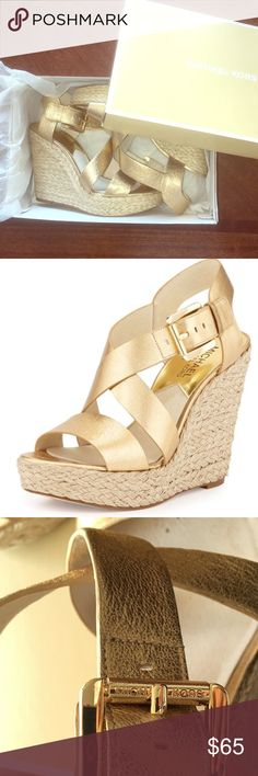 MICHAEL KORS Giovanna gold wedges W/Box Gorgeous gold wedges from Michael Kors, excellent condition, comes with MK box. Giovanna Leather Espadrille Wedge, Pale Gold size 7 Michael Kors Shoes Wedges