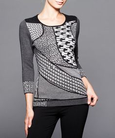 Love this Black & Charcoal Multi-Pattern Knit Sweater on #zulily! #zulilyfinds