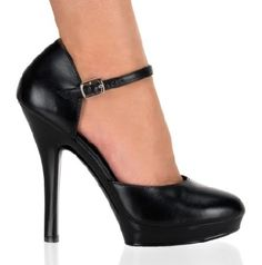 Fabulicious Shoes Pleaser Fabulicious Shoes Lip-180 Black Leather Black leather DOrsay-style shoes with rounded toe, side cut-outs and instep strap with metallic buckle closure on the exterior side. The 5 inch (12.5 cm) black high heels lift up the legs for a provoc http://www.MightGet.com/january-2017-12/fabulicious-shoes-pleaser-fabulicious-shoes-lip-180-black-leather.asp