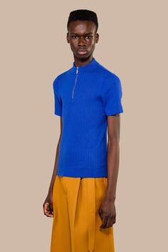 Woody Knitted Zip Sweater Ocean Blue