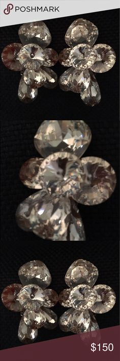 Vintage Swarovski Crystal clip on earrings Fabulous vintage circa 1980s Swarovski crystal clip on earrings. Mint condition. vintage Jewelry Earrings