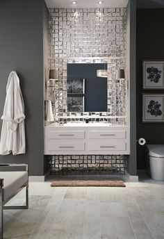Crossville offers porcelain stone, glass and more for interior use and exterior. Discover why Crossville is Americas leader in beautifully sustainable tile. Glass Tile Bathroom, Bathroom Wall, Glass Tiles, Mirror Tiles, Silver Bathroom, Mirror Mosaic, Mosaic Wall, Bathroom Vanities, Master Bathroom